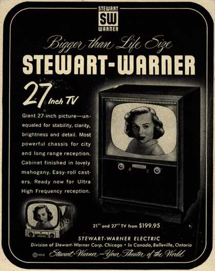 Stewart-Warner Corporation&#8217;s 27 inch TV &#8211; Bigger than Life Size Stewart-Warner 27 Inch TV (1953)