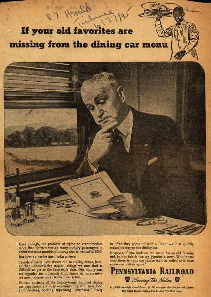 Pennsylvania Railroad – If your old favorites are missing from the dining car menu (1945)