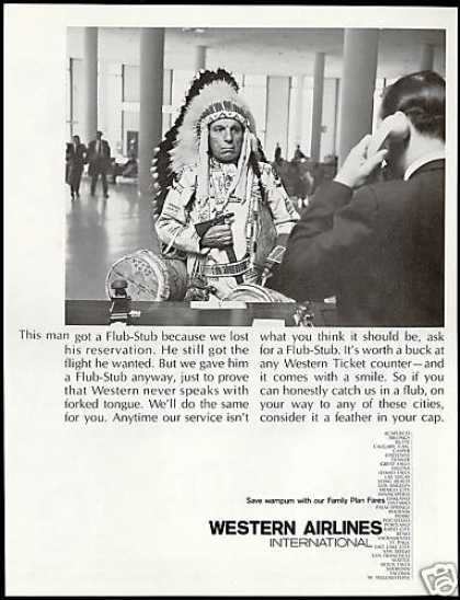 Indian Chief Flub Stub Western Airlines (1967)