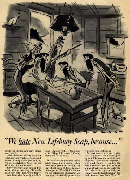 "Lever Brothers Company's Lifebuoy Health Soap – ""We hate New Lifebuoy Soap, because..."" (1954)"
