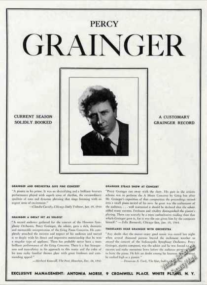 Percy Grainger Photo Piano Collectible Booking (1944)