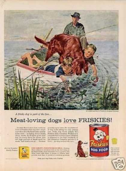Friskies Dog Food Ad Douglass Crockwell Art (1956)