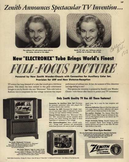 "Zenith Radio and Television's ""Electronex"" Tube – Zenith Announces Spectacular TV Invention... (1951)"