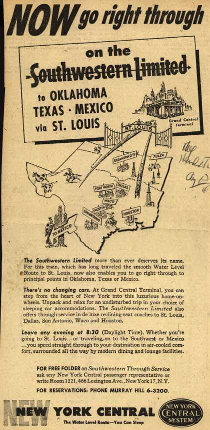 New York Central System's Southwestern Limited – Now go right through on the Southwestern Limited to Oklahoma, Texas, Mexico via St. Louis (1946)