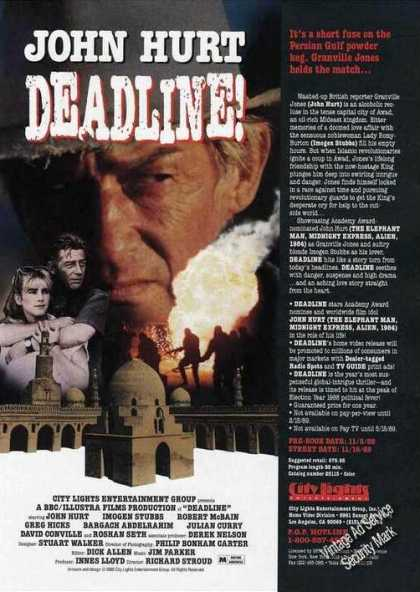 John Hurt Deadline Movie Promo Trade (1988)