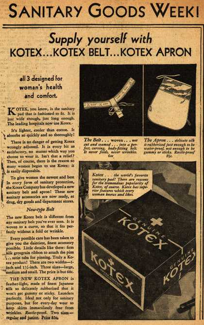 Kotex Company's Sanitary Napkins, Belts, and Aprons – Sanitary Goods Week (1930)