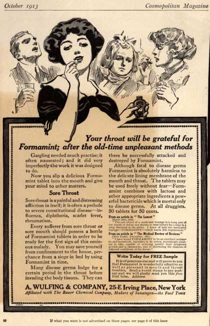 A. Wulfing & Company's Wulfing's Formamint – Your throat will be grateful for Formamint; after the old-time unpleasant methods (1913)