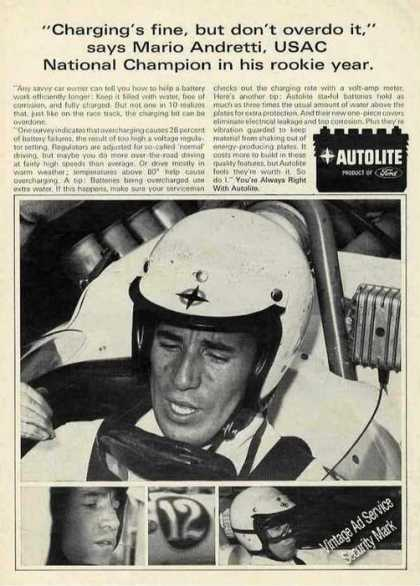 Mario Andretti On Race Track Photos Autolite (1966)