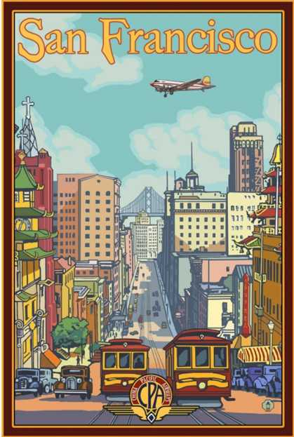 San Francisco Cable Cars California Street Poster