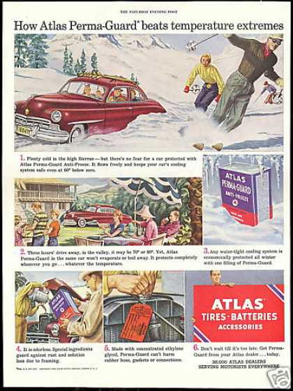 Snow Skiers Sierras Atlas Anti Freeze Vintage (1950)