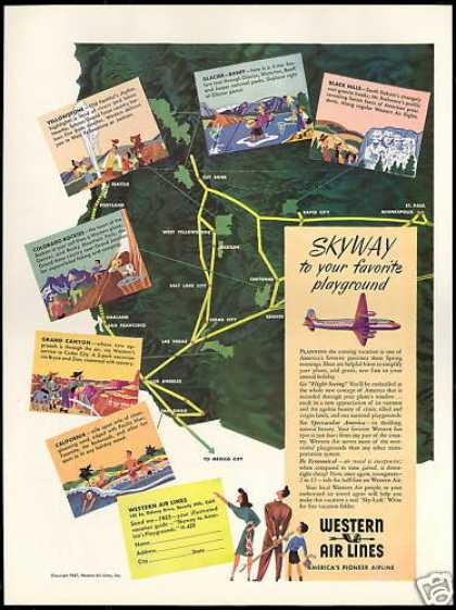 Western Airlines System Map Vintage (1947)