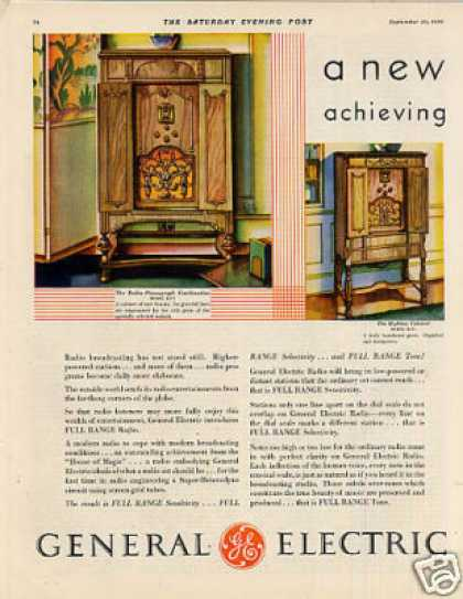 General electric radio 2 page color ad 3 models 1930