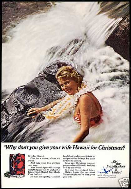 United Airlines Hawaii For Christmas Wife (1968)