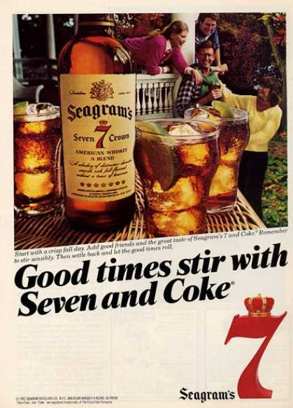 Seagrams 7 Crown Whiskey Bottle T (1982)