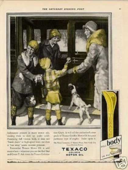Texaco Oil Color Ad 2 Page (1928)