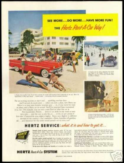 Florida Trade Winds Hotel Hertz Rent A Car (1954)