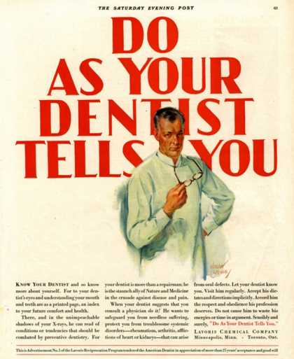 Dentists Lavoris Do As Your Dentist Tells You, USA (1920)