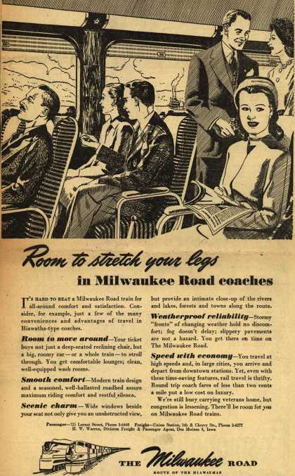 Milwaukee Road's travel comfort – Room to stretch your legs in Milwaukee Road coaches (1946)