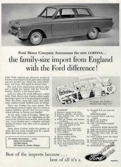 "Ford Cortina ""Family Size Import From England"" (1963)"