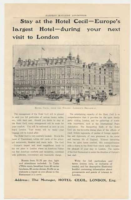 Hotel Cecil London England Photo (1905)