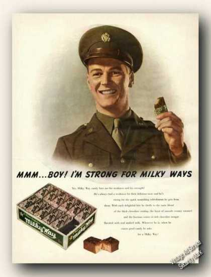 Milky Way Candy Bars Promo Wwii Soldier Art (1943)
