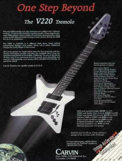 "V220 Tremolo Guitar By Carvin ""Ultimate Weapon"" (1985)"