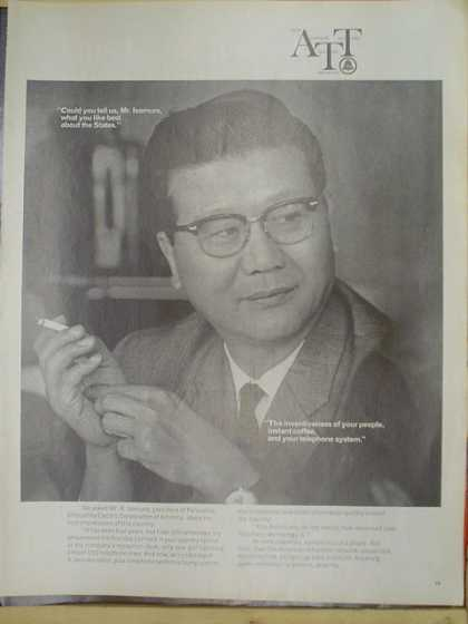 ATT AT@T Telecommunications. Mr Isomura what do you like most about the states? (1969)