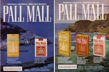 Pall Mall Cigarettes Ads – Coastal Set of 2 (1976)