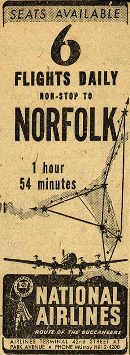 National Airline's Norfolk – 6 Flights Daily Non-Stop To Norfolk (1946)