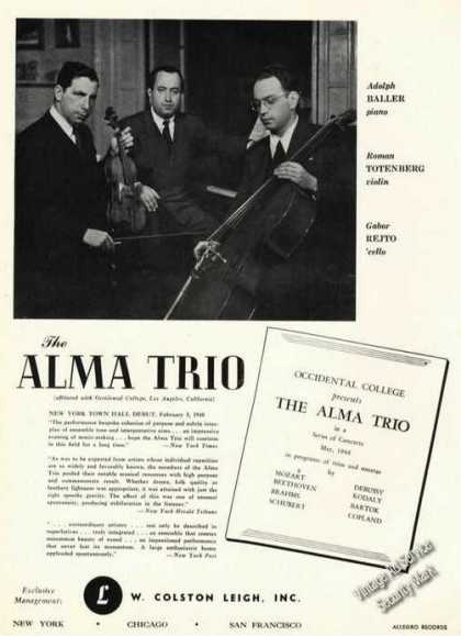 Alma Trio Photo Occidental College Rare (1948)