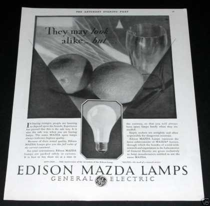 Edison Mazda Ge Lamps (1929)