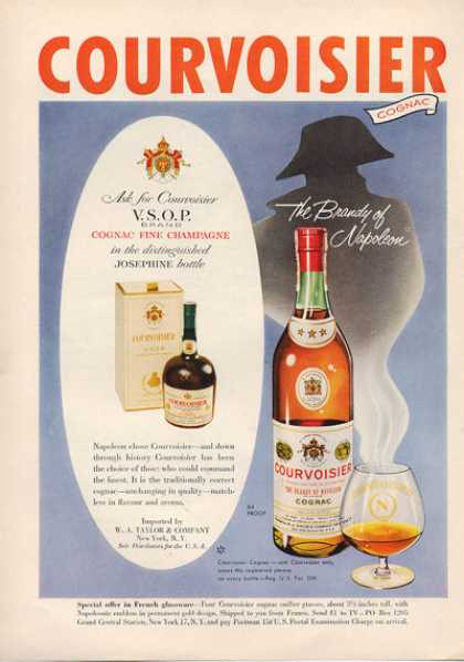 Courvoisier Cognac Brandy Bottle (1953)