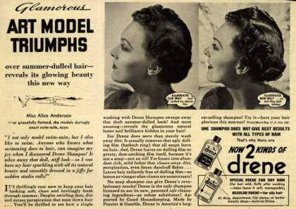 Procter & Gamble Co.'s Drene Shampoo – Glamorous Art Model Triumphs (1939)