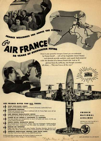 French National Airline's Air France – France Welcomes You Above The Clouds! Go Air France 28 Years of Overwater Flying (1947)