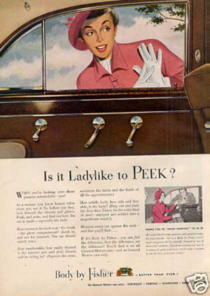 "Body By Fisher Car Ad ""Is It Lady Like... (1949)"
