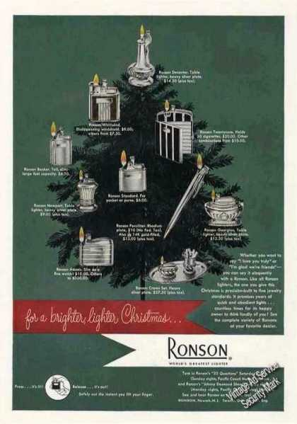 Ronson Lighters (10) As Christmas Gifts (1949)
