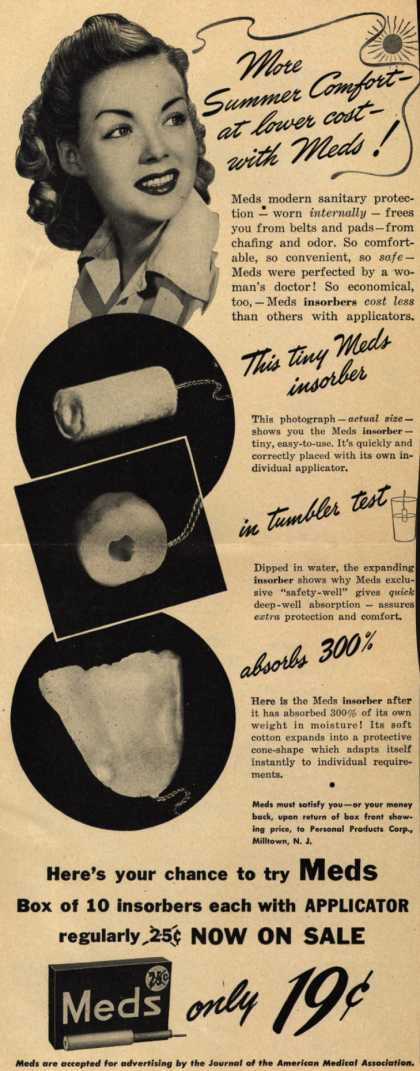 Personal Products Corporation's Meds Tampons – More Summer Comfort – at lower cost – with Meds (1943)