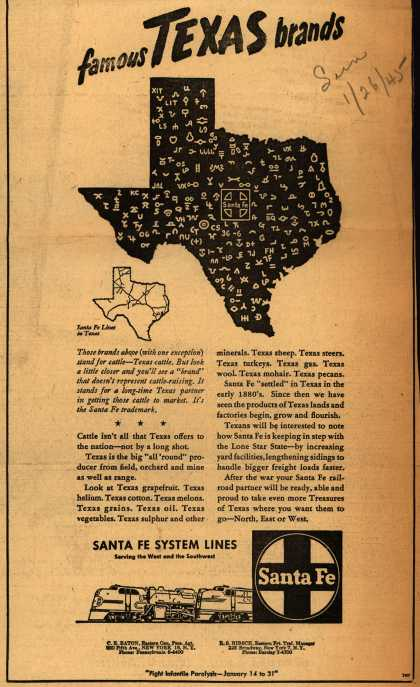Santa Fe System Lines – Famous Texas brands (1945)