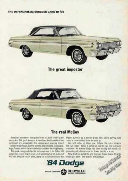 Dodge Hardtop & Convertible Car (1964)