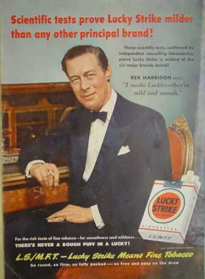 Lucky Strike Cigarettes Rex Harrison Rich taste of tobacco (1950)