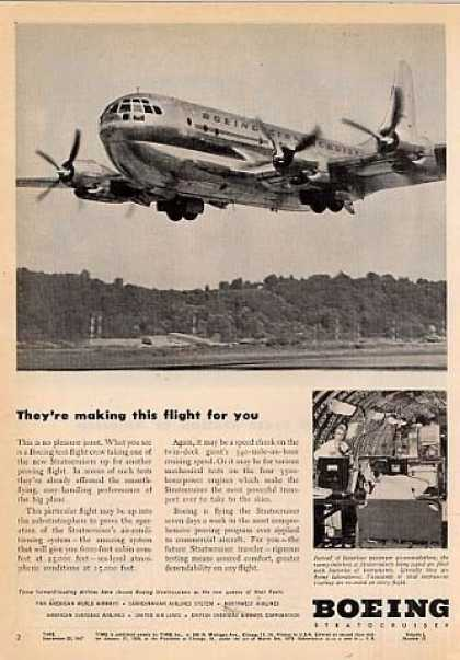"Boeing Stratocruiser Ad ""They're Making This... (1947)"