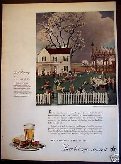 Roof Raising By Marianne Appel Art Beer (1945)