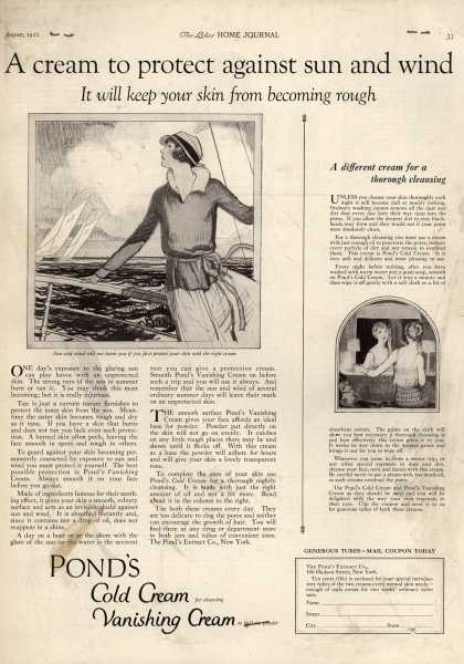 Pond's Extract Co.'s Pond's Cold Cream and Vanishing Cream – A cream to protect against sun and wind (1922)