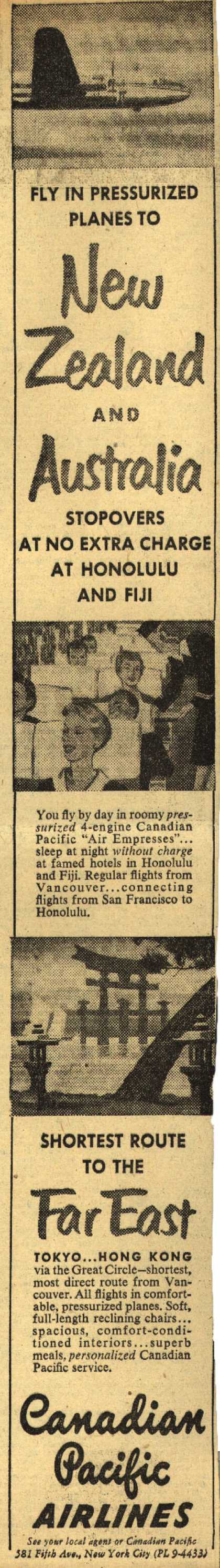 Canadian Pacific Air Line's New Zealand and Australia – Fly In Pressurized Planes to New Zealand and Australia (1950)