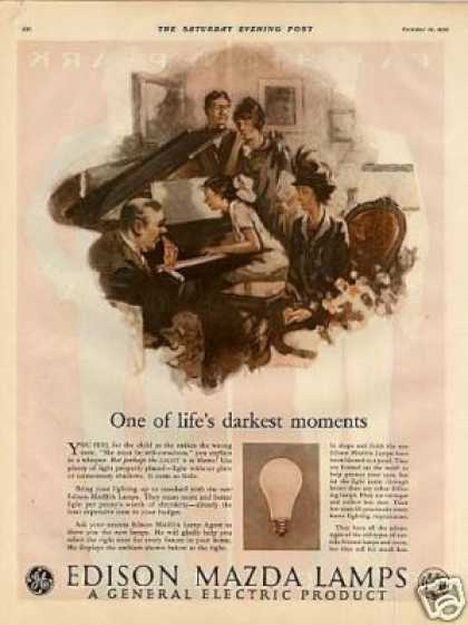 "Edison Mazda Lamps Ad ""One of Life's... (1926)"