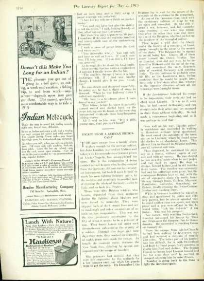 Very Rare Indian Motorcycle Ad – Nice 1/3 Page (1915)