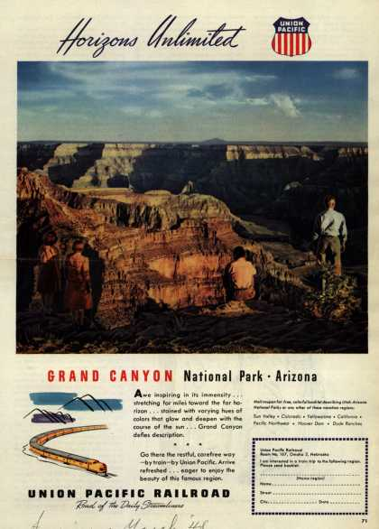 Union Pacific Railroad's Grand Canyon National Park – Horizons Unlimited Grand Canyon National Park – Arizona (1948)