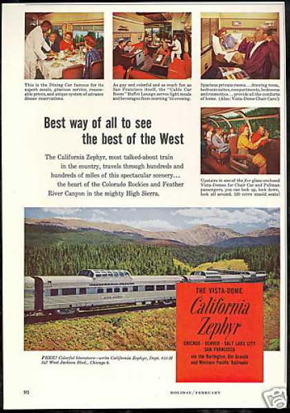 Vista Dome California Zephyr Train Railroad (1962)