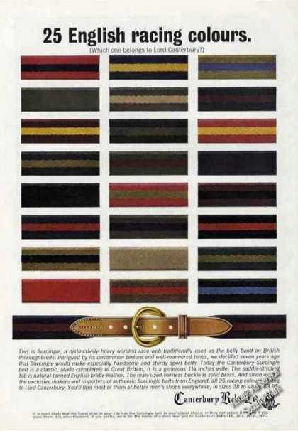 Canterbury Belts 25 English Racing Colours (1964)
