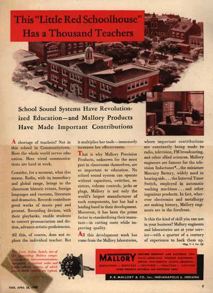 "P.R. Mallory and Company, Incorporated's Mallory Electronics – This ""Little Red Schoolhouse"" Has a Thousand Teachers. School Sound Systems Have Revolutionized Education – And Mallory Products Have Made Important (1947)"